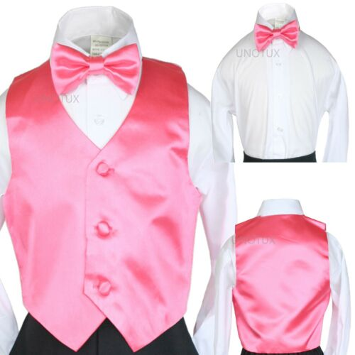 2pc Baby Toddler Kid Teen Boy Satin Long Tie w// Vest Set 3,9,12,18 mo 2T thru 20