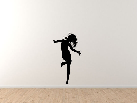 Contour Silhouette- Dancing Woman Girl Version 2 Shadow - Vinyl Wall Decal