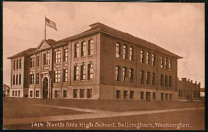 BELLINGHAM WA North Side High School Vtg B&W  Postcard