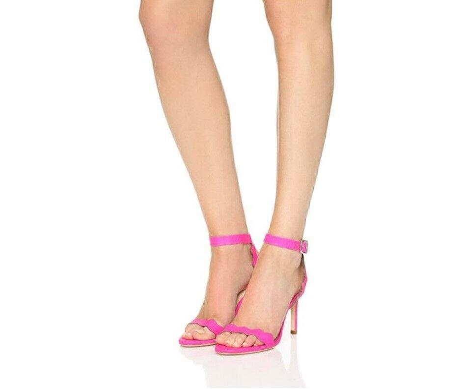 Loeffler Scallop Randall Amelia Pink Scallop Loeffler Snake TextuROT Ankle Strap Heels Sandales  7 04d0a9