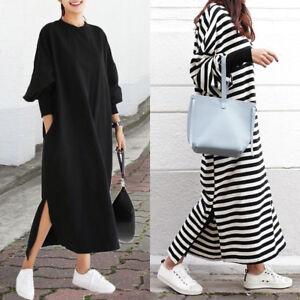 ZANZEA Women Batwing Sleeve Shirt Dress Baggy Casual Long Maxi Dress ... 6e0e16e6b
