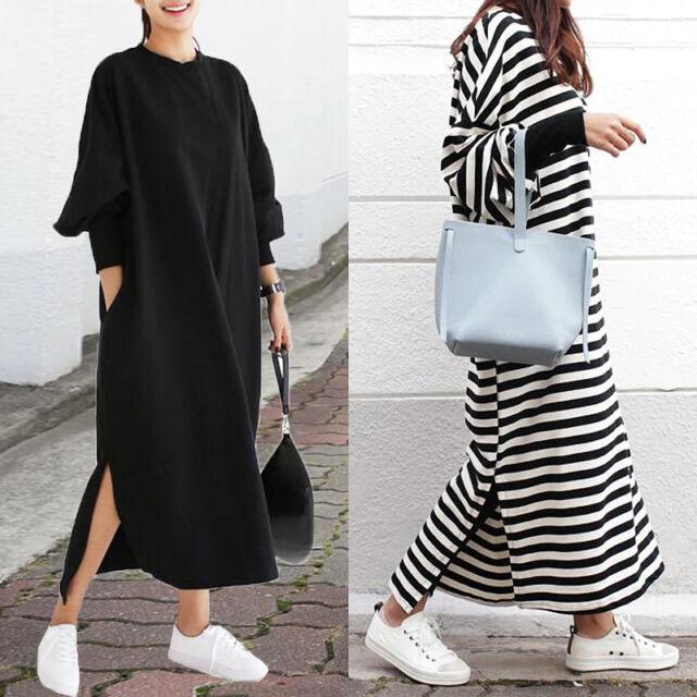 ZANZEA Women Batwing Sleeve Shirt Dress Baggy Casual Long Maxi Dress Plus Size