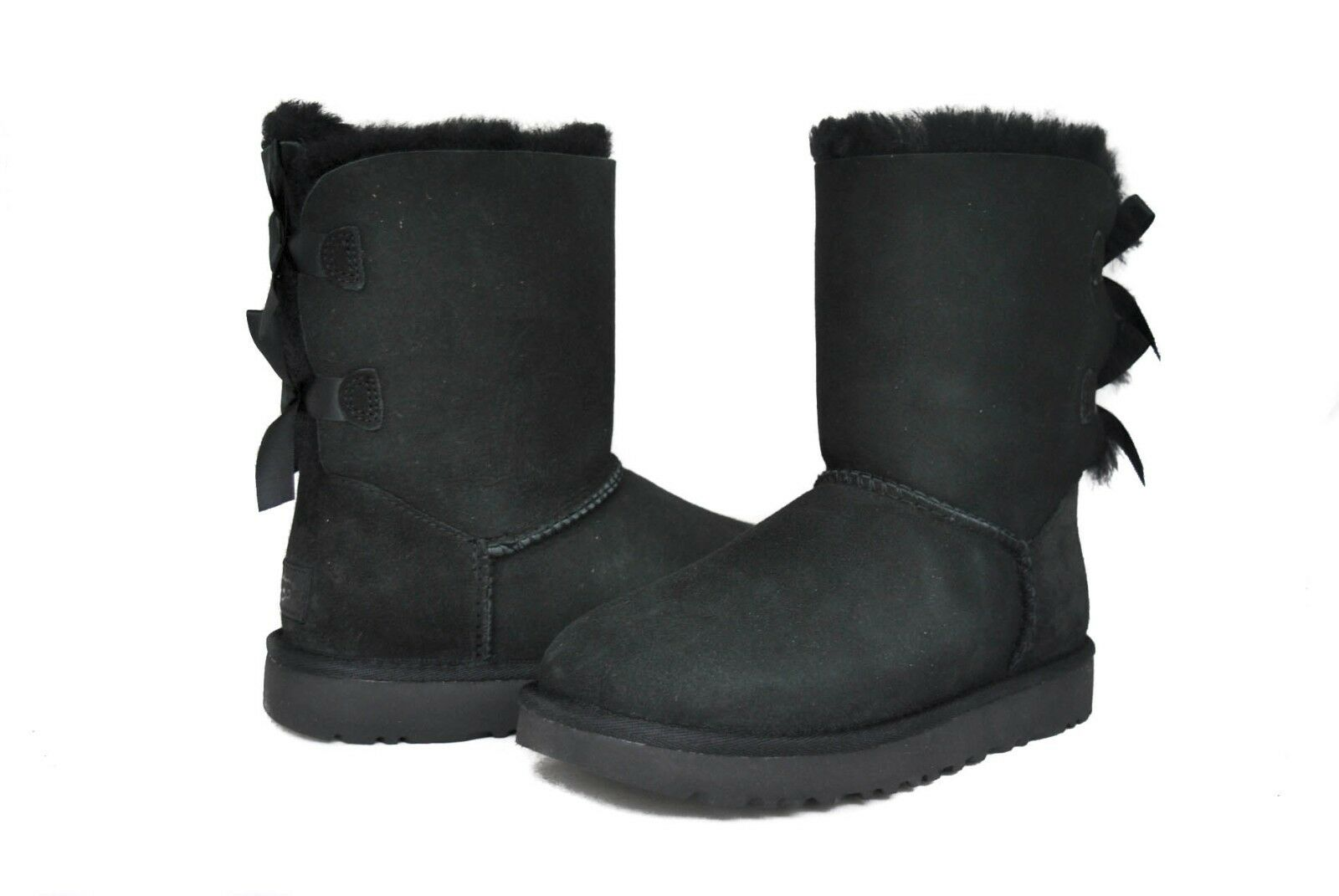1adae7d3462 UGG Bailey Bow II Black Suede Fur BOOTS Womens Size 7