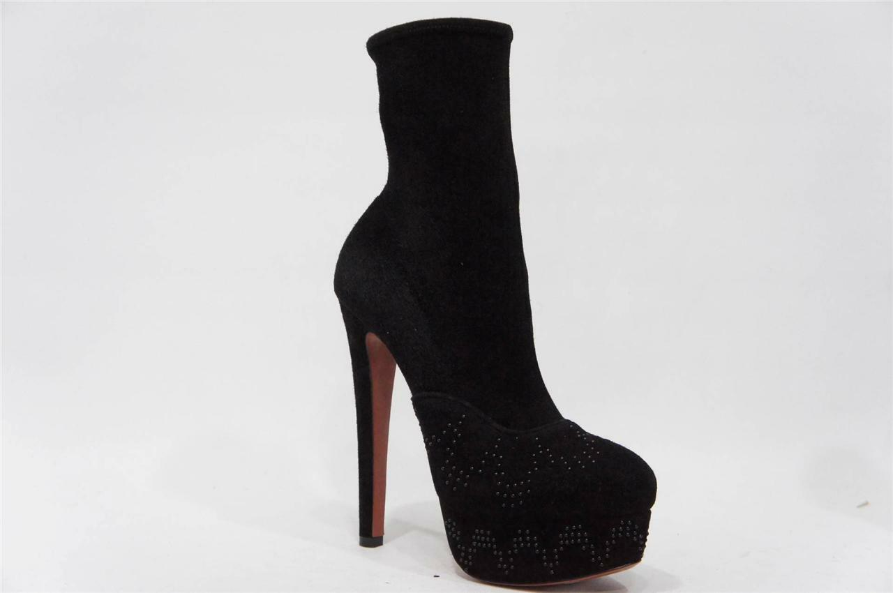 Alaia Plataforma Plataforma Plataforma Zapatos botas De Gamuza Negra 38 7.5  2000  perfecto