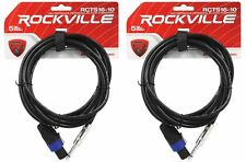 """2 Rockville Rcts1610 10' 16 AWG 1/4"""" TS to Speakon Pro Speaker Cable 100 Copper"""