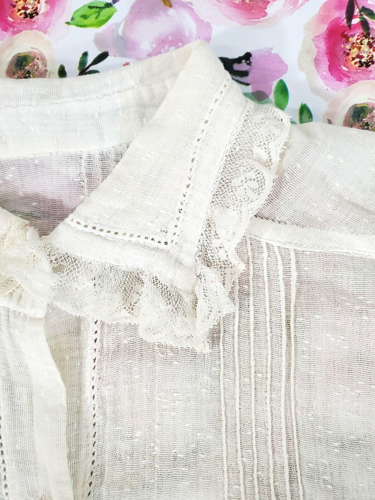 Vintage 10s Antique Cotton Blouse - xs, sm, petite - image 2
