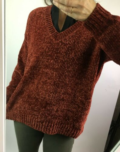 Womens Chenille V Neck Cosy Knit Jumper in Paprika Rust or Fuchsia Pink 8-22
