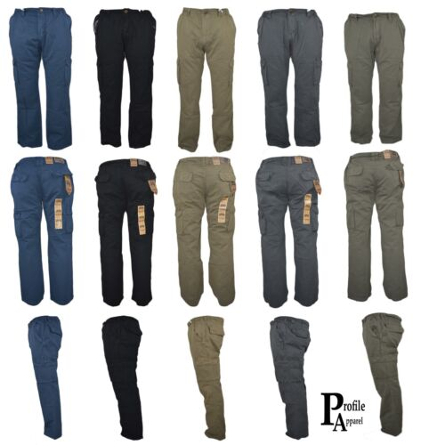 Mens 6 pocket Lightweight Superior Cargo Trouser Pants Workwear Casual 4 Colour