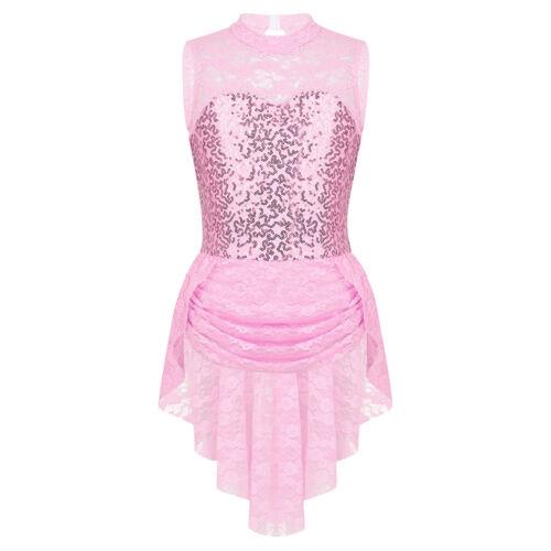 Kids Girls Dance Costume Glitter Skating Dress Mock Neck Competition Dancewear
