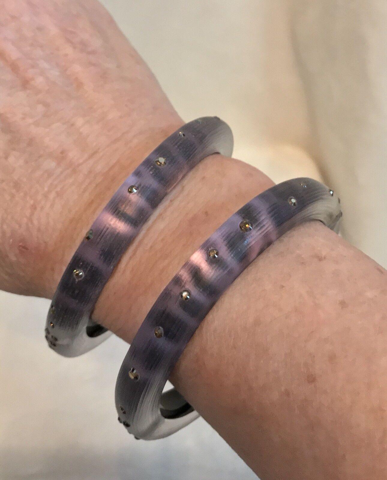 ALEXIS BITTAR SET OF 2 Purple Lucite LEOPARD Animal Print Marcasite Bracelets