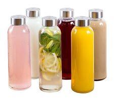 6 PACK Estilo Glass Water Bottles 16 oz Stainless Steel Cap Juice Tea Drink Lid