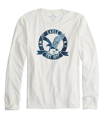 American Eagle Outfitters AEO Signature Long Sleeves White Graphic Tee Size S-XL