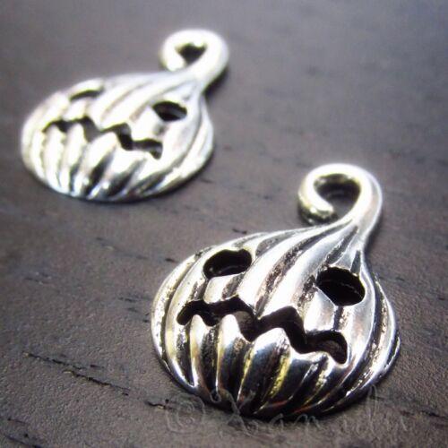 Pumpkin Jack O Lantern Halloween Silver Plated Charms C3041-10 20 or 50PCs
