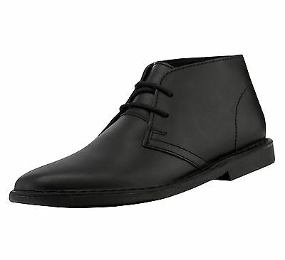 Red Tape Men's Gobi Leather Casual Desert Boots Black