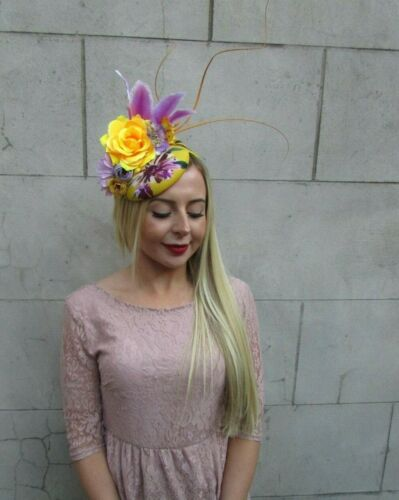Mustard Yellow Lilac Purple Feather Flower Hat Hair Fascinator Races Floral 7119