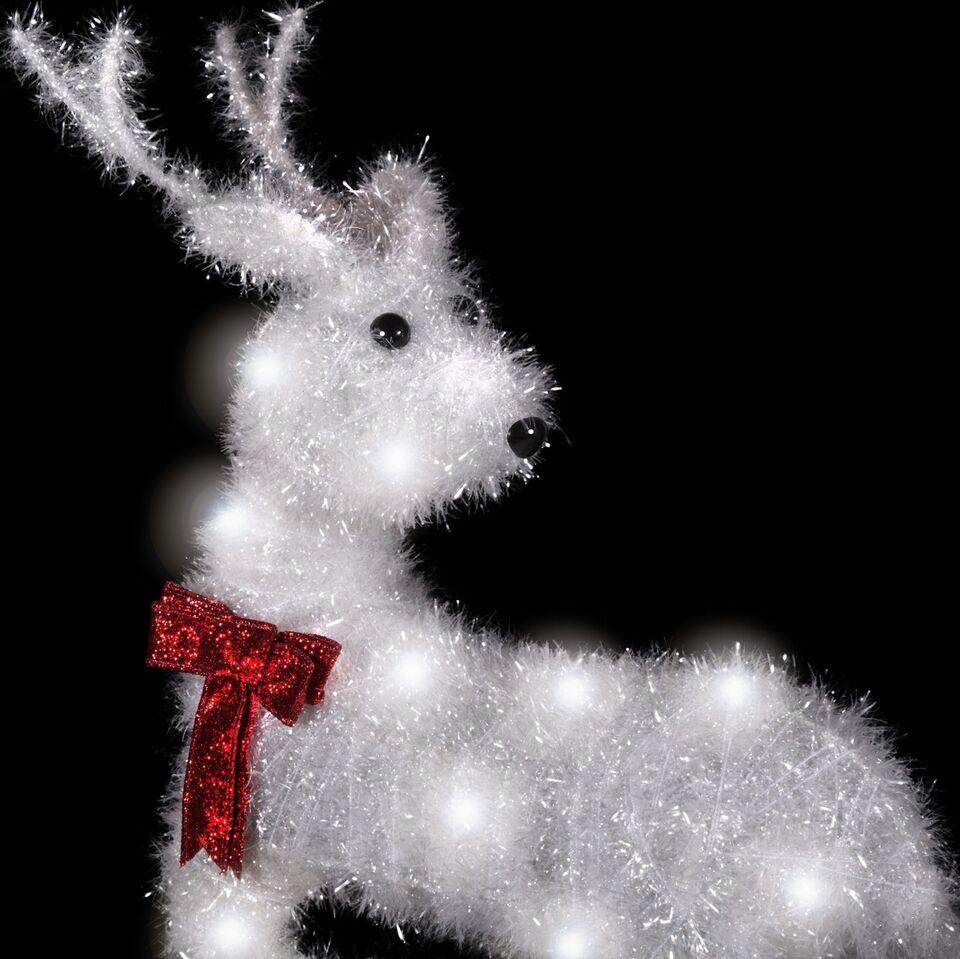 LED Rensdyr med sløjfe julebelysning til haven