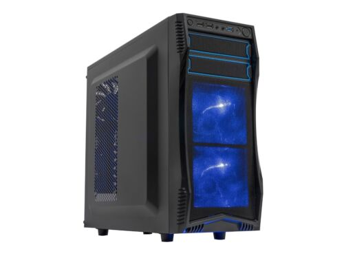 Rosewill Gaming Computer PC Case ATX Mid Tower w// Blue LED Fans CHALLENGER S