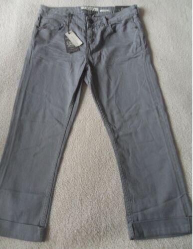 FAT FACE BLUE GARMENT DYE DENIM COTTON STRETCH STRAIGHT LEG CROPPED JEANS 10 14