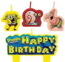 New Sponge-Bob (4pc) Birthday Candle Set Kids Birthday Party Supplies~