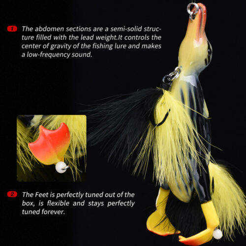 Details about  /3D Suicide Duck Fishing Lure Floating Artificial Bait Fishing Tackle