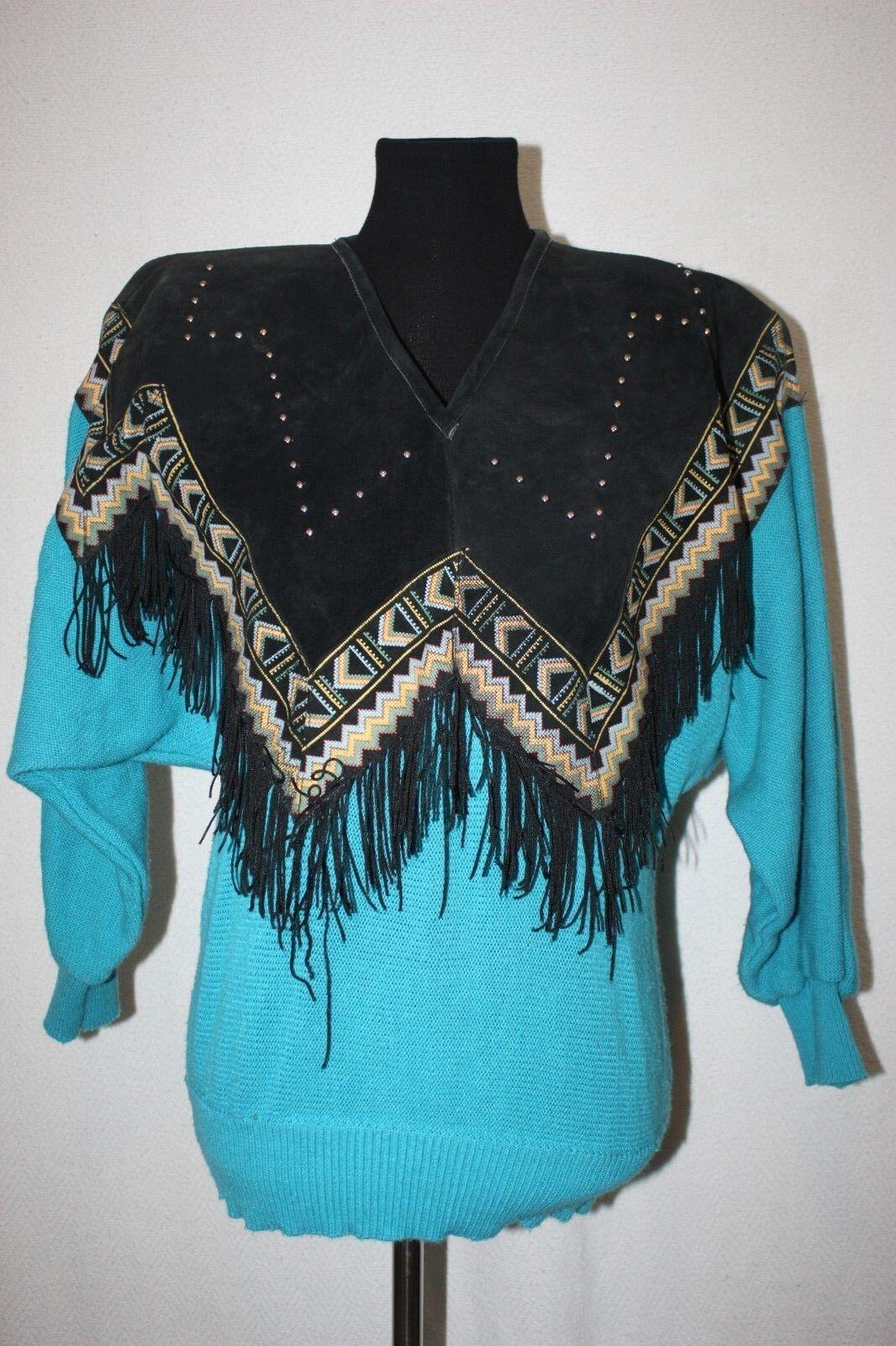 VTG Miller Outerwear Women Southwest Fringe Suede Teal Acrylic Sweater Sz L
