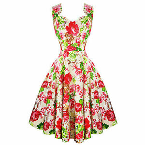 Hearts-amp-Roses-London-Cream-Floral-Vintage-Retro-1950s-Flared-Tea-Dress