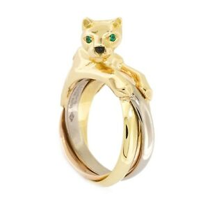 7a0e9e40b48f8 Details about Authentic Cartier Panthere Panther 18k Yellow Rose White Gold  Onyx Emerald Ring
