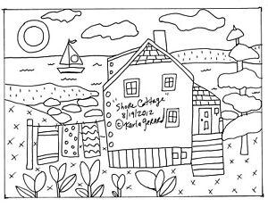 RUG HOOK CRAFT PAPER PATTERN Shore Cottage FOLK ART PRIMITIVE Karla Gerard