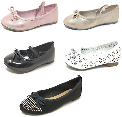 MSI Girls Dolly Shoes Childrens Kids Black Gold Pink White Size 7-5