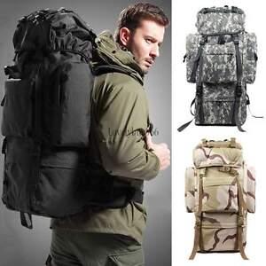 Tactical Survival Day pack Camping Hiking Molle Backpack Rucksacks 80L Bag