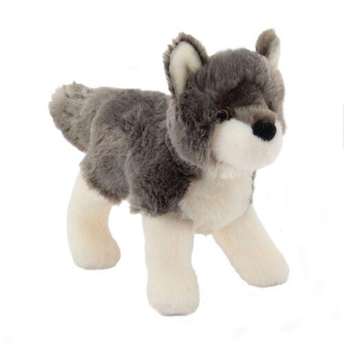 "ASHES Douglas Cuddle Toy plush 7/"" long GRAY WOLF stuffed animal grey"