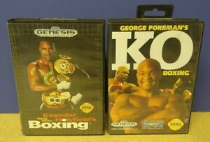 Evander + George Foreman's KO Boxing - Sega Genesis Working Tested 2 Game Lot