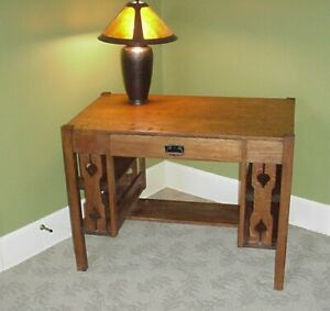 Image Is Loading Antique Mission Style Oak Desk Quarter Sawn Library