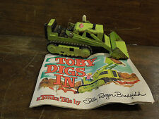 "Vintage Tonka Light Green Bulldozer with Tonka Tale Story Booklet ""Toby Digs In"""