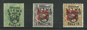 Poland 1919 CENTRAL LITHUANIA Mint Hinged * ERRORS