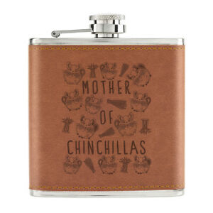 Mere-De-Chinchillas-170ml-Cuir-PU-Hip-Flasque-Fauve-Crazy-Lady-Animal-Amant