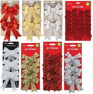 Christmas-Tree-Decoration-Glittered-Bows-Gift-Xmas-Bows-Red-Gold-Silver-White