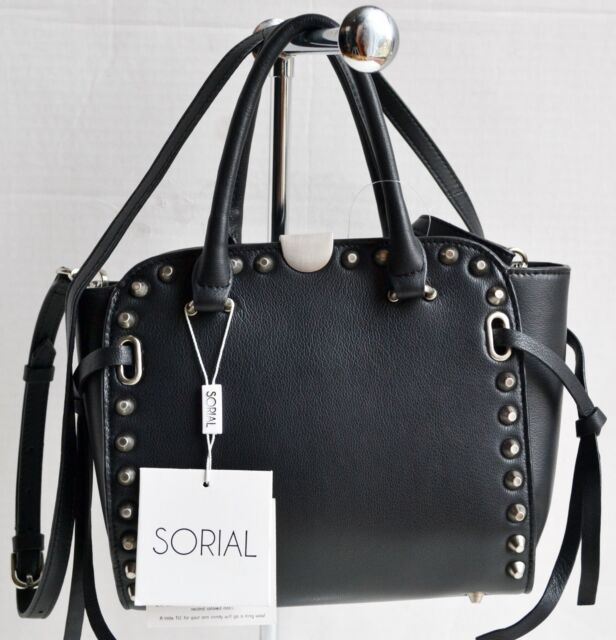 Sorial Parker Satchel Handbag Bag Black Leather Crossbody Msrp 348 00 Nwt