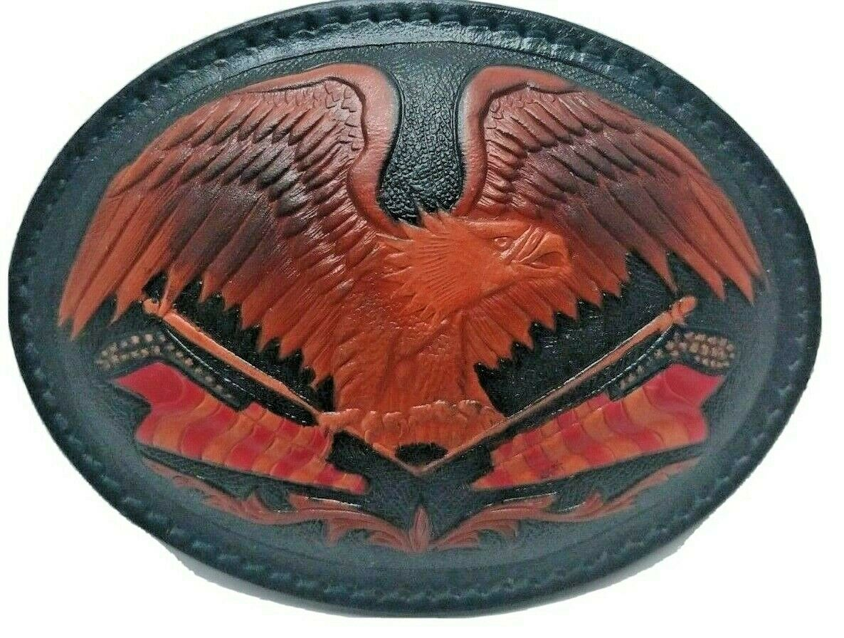 Belt Buckle Black Leather With Eagle 4