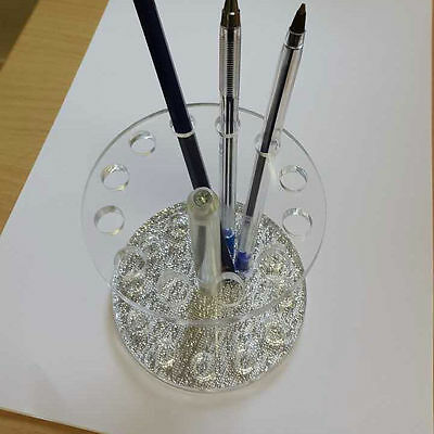 New Silver Round Makeup Nail Acrylic Gel Brush Pen Holder Stand Display 12 Holes