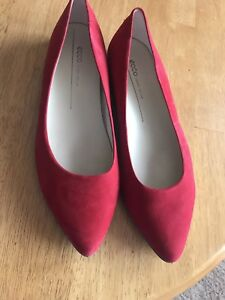 Ecco-Danish-Design-Red-Suede-Pointed-Toe-Ballerina-Flats-Women-039-s-9-5-10-Size-41