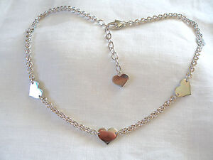 Krementz-Sterling-Silver-034-Heart-034-Rolo-Link-Necklace