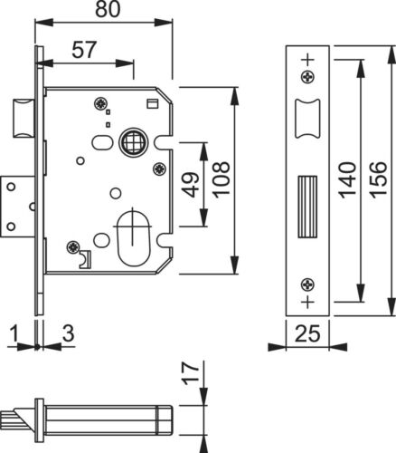 Arrone Satin Fire Rated Architectural EURO Sashlock CASE 78 mm