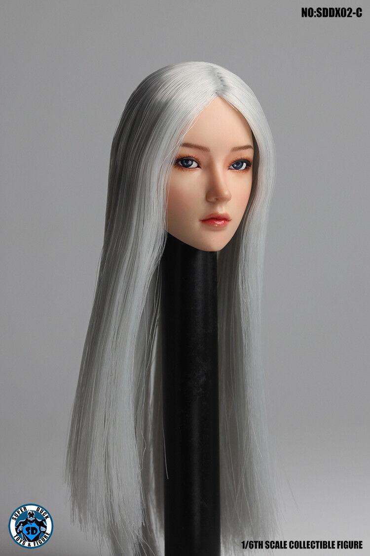 "1//6 Super Duck SDDX02A Long Black Hair Head Sculpt For 12/"" Female Body"