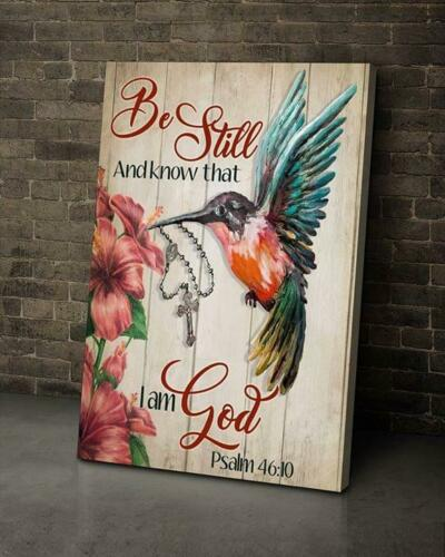 Hummingbird Be Still And Know That I Am God Canvas 0.75in Framed