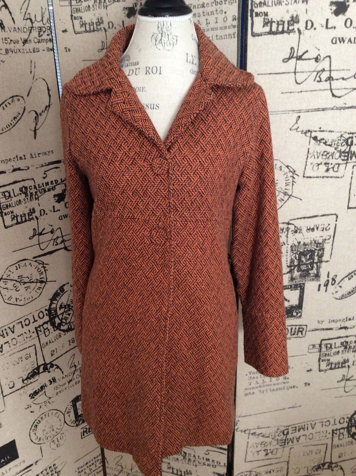 Paul Frank Women's orange Brown Tweed Coat Size Medium