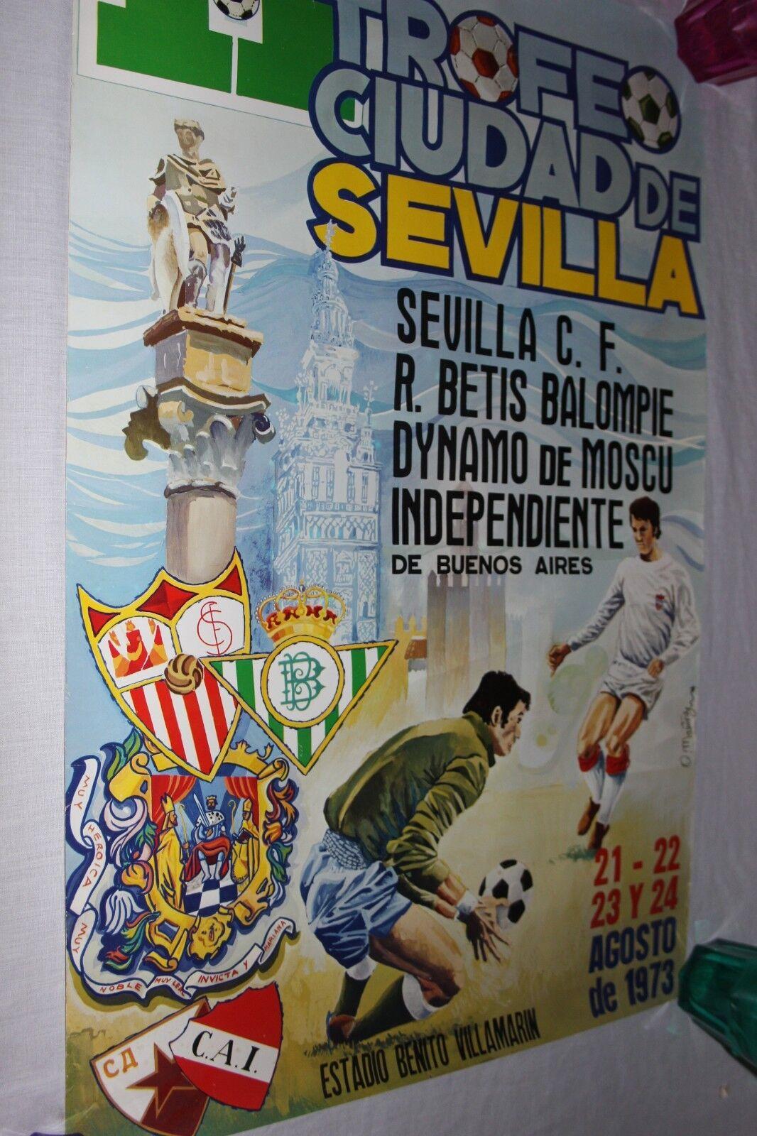 POSTER SUPER GRANDE DEL Ii TROFEO CIUDAD DE SEVILLA EN AGOSTO DE 1.973 VINTAGE