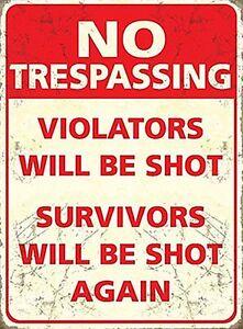 Nicht-Trespassing-Violators-Werden-Shot-Kleines-Metallschild-200mm-x-150mm-Og