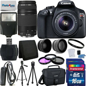 Canon Rebel T6 Digital SLR Camera + 32GB Top Value Bundle + 18-55mm + 75-300mm