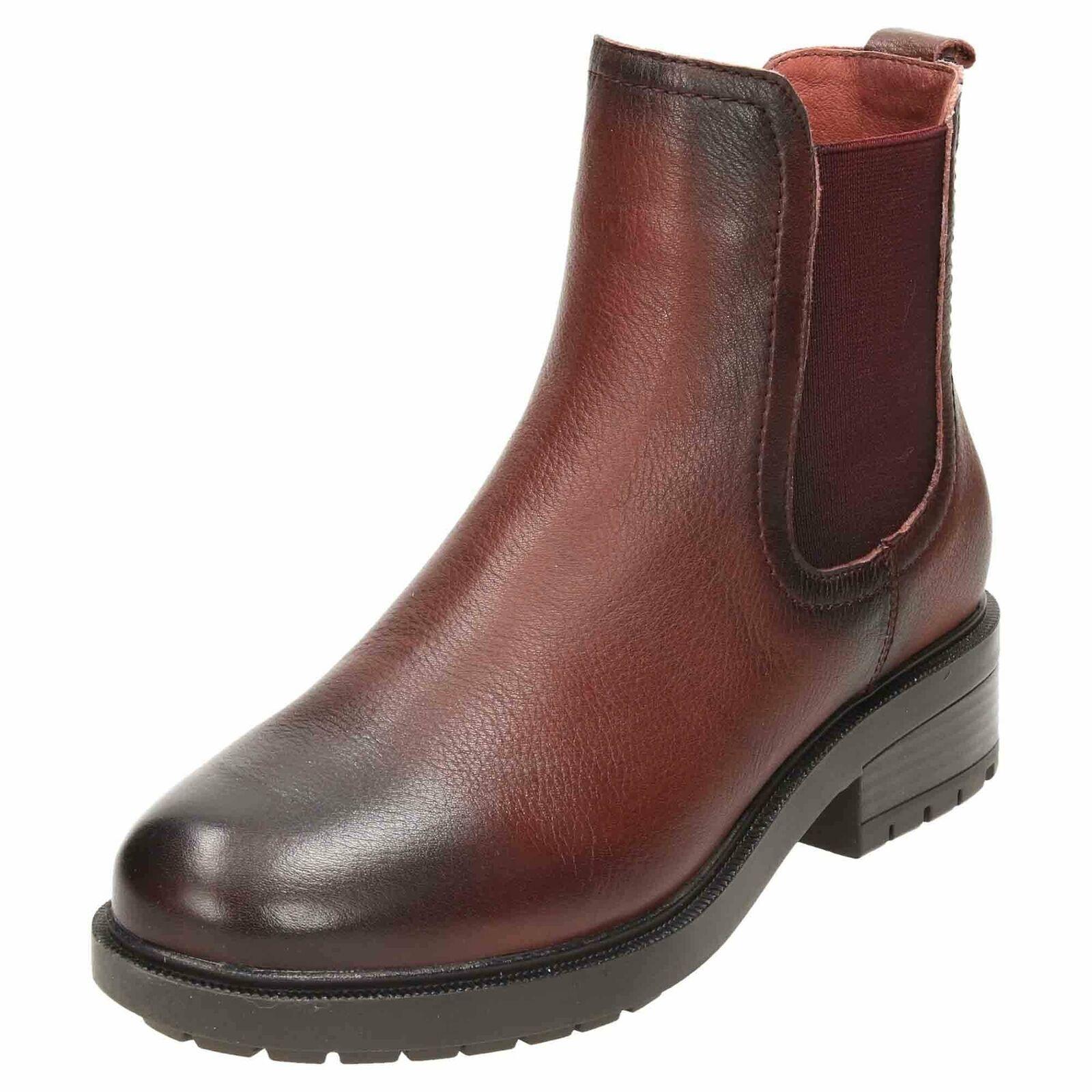 Carmela Leather Chelsea Ankle Stiefel 66963 Burgundy Pull On Flat Biker schuhe